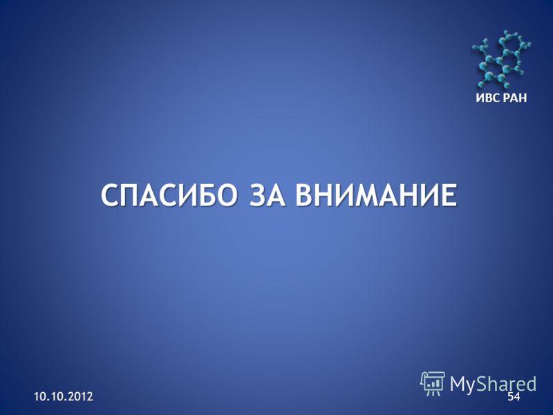 10.10.201254 СПАСИБО ЗА ВНИМАНИЕ ИВС РАН