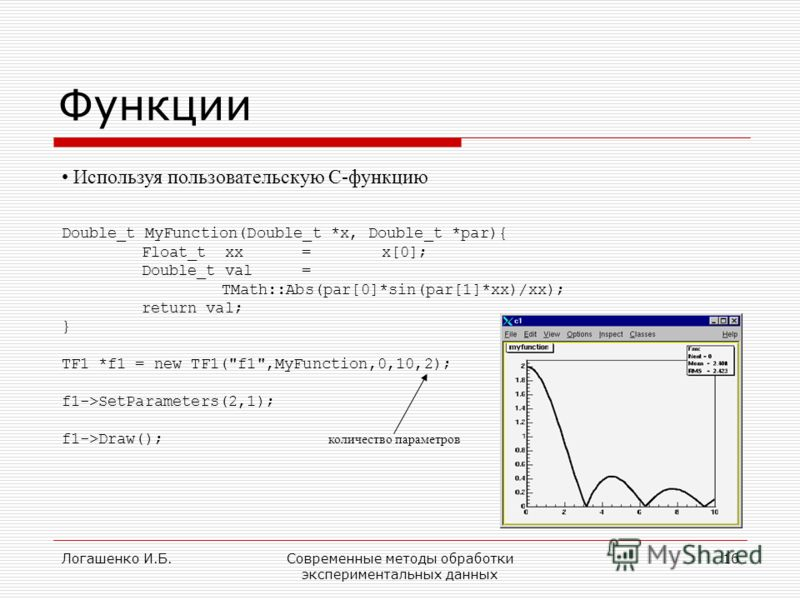 Логашенко И.Б.Современные методы обработки экспериментальных данных 16 Функции Используя пользовательскую С-функцию Double_t MyFunction(Double_t *x, Double_t *par){ Float_t xx =x[0]; Double_t val= TMath::Abs(par[0]*sin(par[1]*xx)/xx); return val; } T