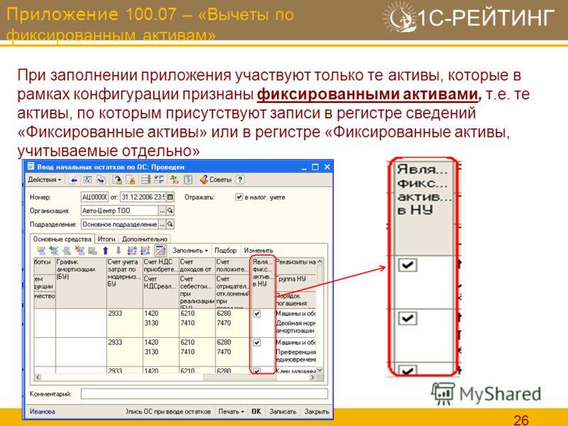 1С-РЕЙТИНГ 26 Приложение 100.07 – «Вычеты по фиксированным активам» При заполнении приложения участвуют только те активы, которые в рамках конфигурации признаны фиксированными активами, т.е. те активы, по которым присутствуют записи в регистре сведен