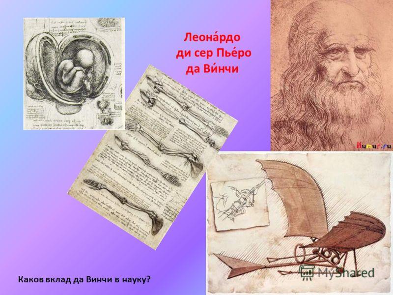 Леона́рдо ди сер Пье́ро да Ви́нчи Каков вклад да Винчи в науку?