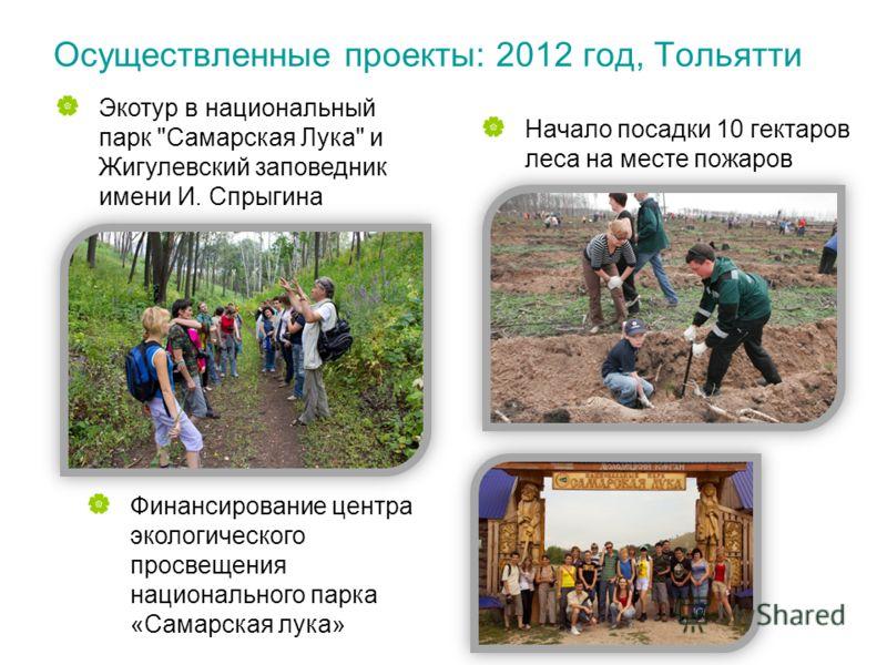 Осуществленные проекты: 2012 год, Тольятти Начало посадки 10 гектаров леса на месте пожаров Экотур в национальный парк