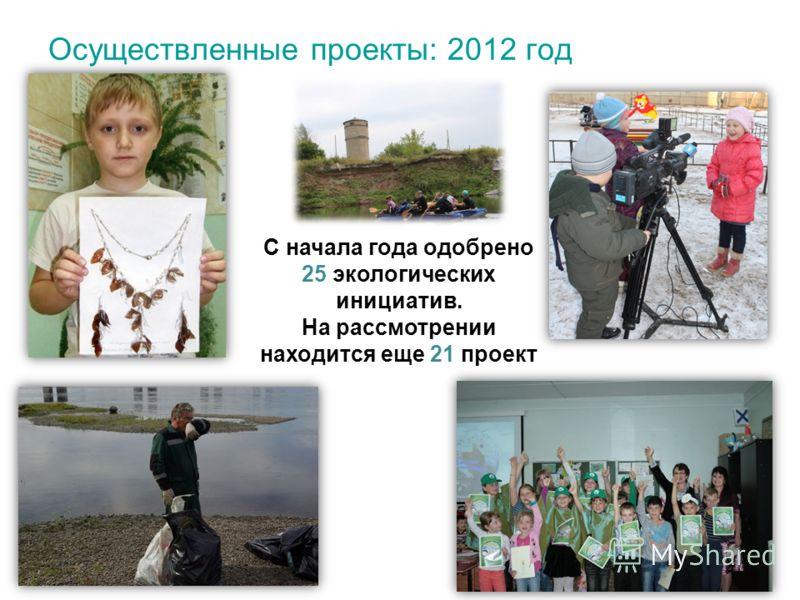 Осуществленные проекты: 2012 год С начала года одобрено 25 экологических инициатив. На рассмотрении находится еще 21 проект
