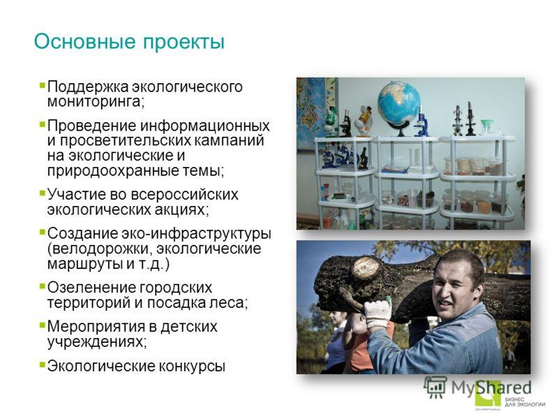 Основные проекты Поддержка экологического мониторинга; Проведение информационных и просветительских кампаний на экологические и природоохранные темы; Участие во всероссийских экологических акциях; Создание эко-инфраструктуры (велодорожки, экологическ