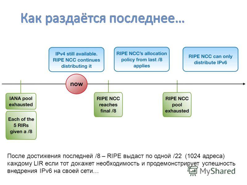 После достижения последней /8 – RIPE выдаст по одной /22 (1024 адреса) каждому LIR если тот докажет необходимость и продемонстрирует успешность внедрения IPv6 на своей сети…