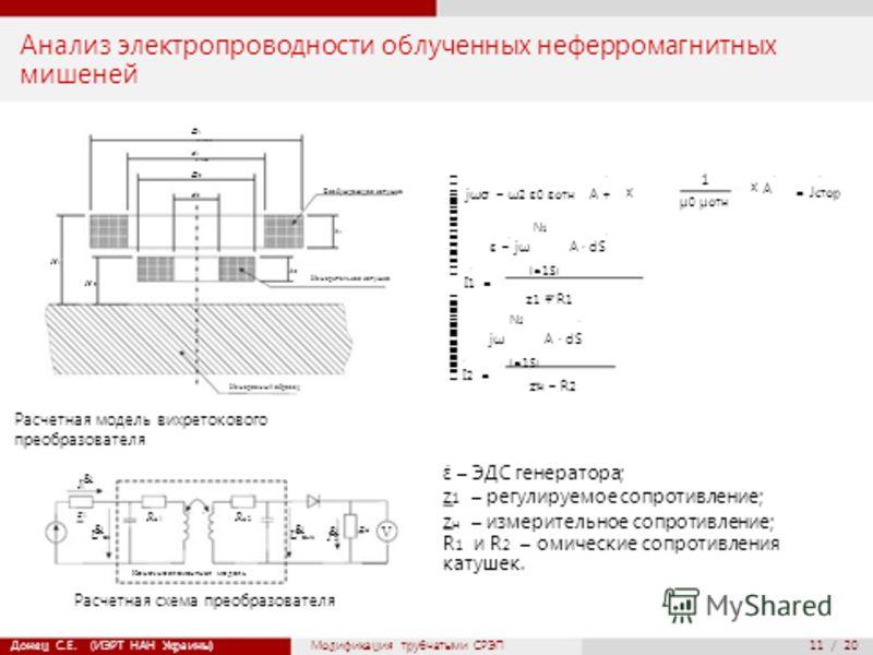 мм43,61 мм23,18 мм11,71 мм15,95 ˙ ˙ ˙ ˙ ˙ ˙ ˙ & & & & ˙ 11 / 20 Анализ электропроводности облученных неферромагнитных мишеней D 1 103,94mm d 1 67,59мм H1H1 H 2 D 2 57,40mm d 2 22,38mm h 2 Измеряемый образец Возбуждающая катушка h 1 Измерительная кату
