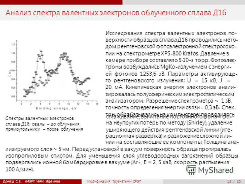 13 / 20 Анализ спектра валентных электронов облученного сплава Д16 Исследования спектра валентных электронов по- верхности образцов сплава Д16 проводились мето- дом рентгеновской фотоэлектронной спектросоко- пии на спектрометре XPS-800 Kratos. Давлен