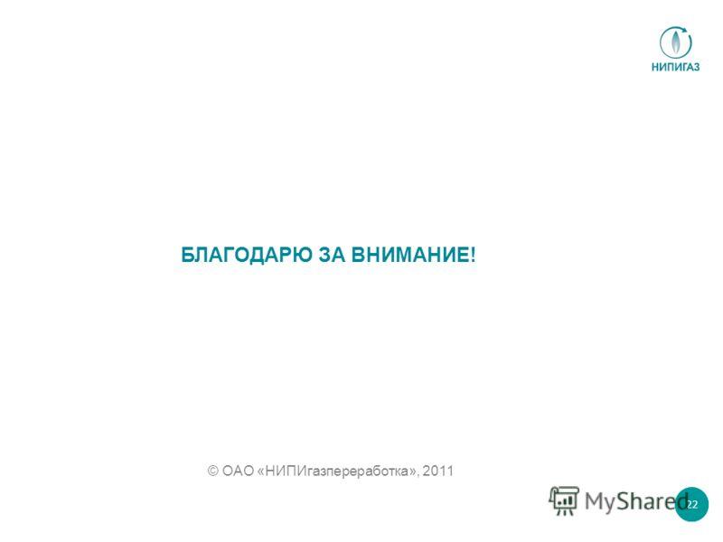 БЛАГОДАРЮ ЗА ВНИМАНИЕ! © ОАО «НИПИгазпереработка», 2011 22