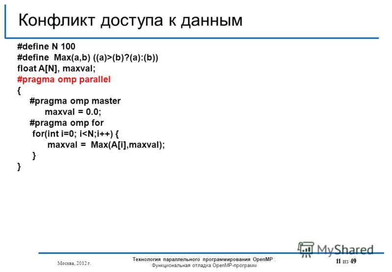 11 из 49 Конфликт доступа к данным Москва, 2012 г. Технология параллельного программирования OpenMP : Функциональная отладка OpenMP-программ #define N 100 #define Max(a,b) ((a)>(b)?(a):(b)) float A[N], maxval; #pragma omp parallel { #pragma omp maste