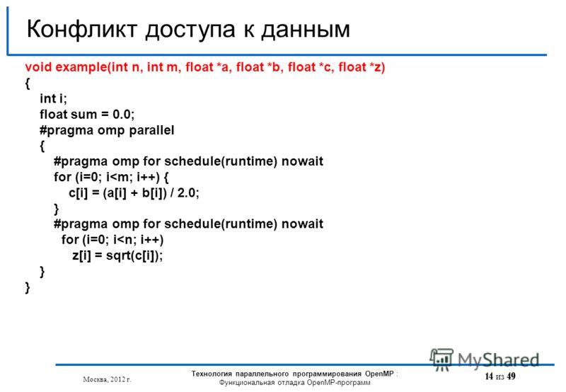 14 из 49 Конфликт доступа к данным Москва, 2012 г. Технология параллельного программирования OpenMP : Функциональная отладка OpenMP-программ void example(int n, int m, float *a, float *b, float *с, float *z) { int i; float sum = 0.0; #pragma omp para