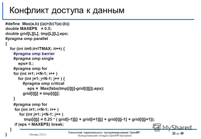 25 из 49 Конфликт доступа к данным Москва, 2012 г. Технология параллельного программирования OpenMP : Функциональная отладка OpenMP-программ #define Max(a,b) ((a)>(b)?(a):(b)) double MAXEPS = 0.5; double grid[L][L], tmp[L][L],eps; #pragma omp paralle