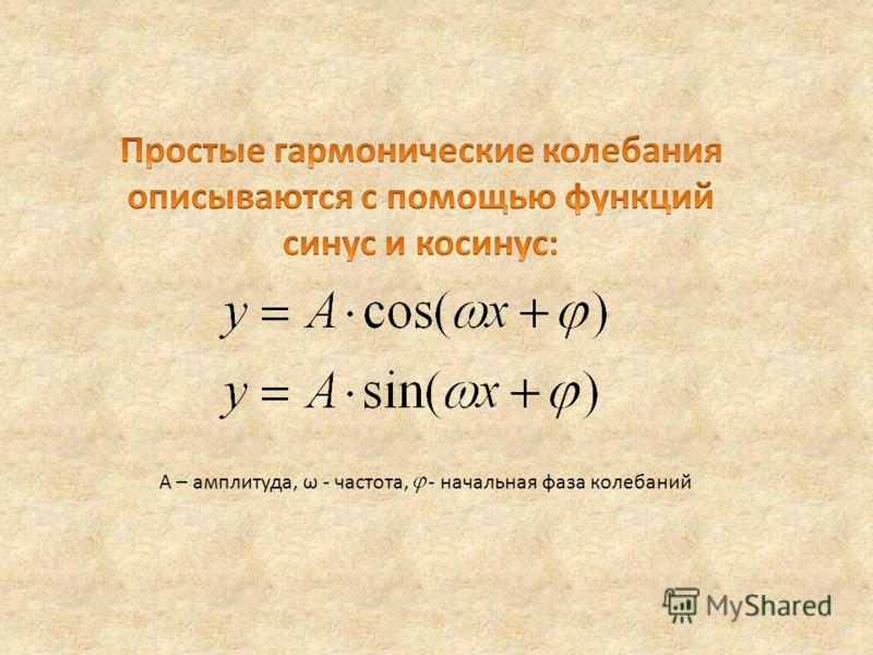 А – амплитуда, ω - частота, - начальная фаза колебаний