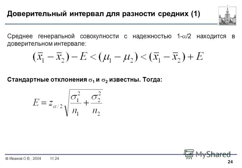 24 Иванов О.В., 200411:24 Доверительный интервал для разности средних (1) Среднее генеральной совокупности с надежностью 1- /2 находится в доверительном интервале: Стандартные отклонения 1 и 2 известны. Тогда: