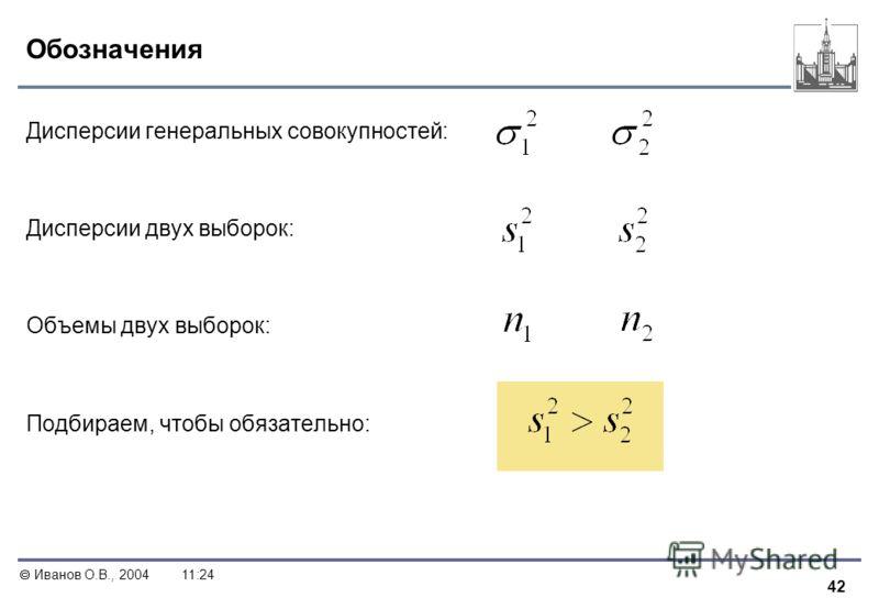 42 Иванов О.В., 200411:24 Обозначения Дисперсии генеральных совокупностей: Дисперсии двух выборок: Объемы двух выборок: Подбираем, чтобы обязательно:
