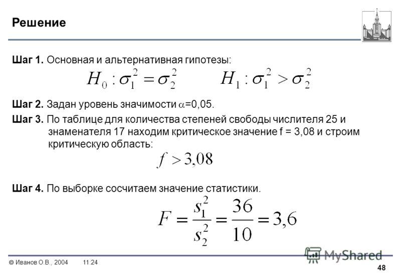 48 Иванов О.В., 200411:24 Решение Шаг 1. Основная и альтернативная гипотезы: Шаг 2. Задан уровень значимости =0,05. Шаг 3. По таблице для количества степеней свободы числителя 25 и знаменателя 17 находим критическое значение f = 3,08 и строим критиче