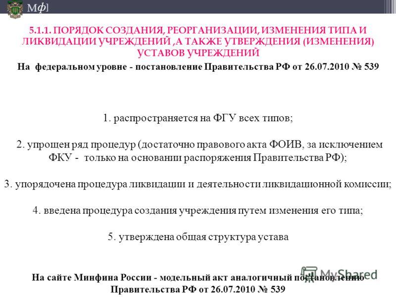 М ] ф 1. распространяется на ФГУ всех типов; 2. упрощен ряд процедур (достаточно правового акта ФОИВ, за исключением ФКУ - только на основании распоряжения Правительства РФ); 3. упорядочена процедура ликвидации и деятельности ликвидационной комиссии;