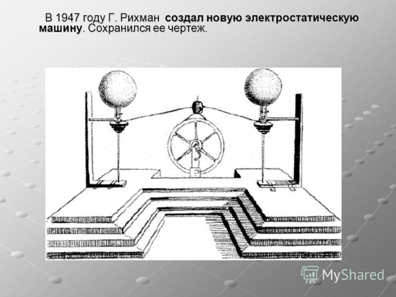 В 1947 году Г. Рихман создал новую электростатическую машину. Сохранился ее чертеж. В 1947 году Г. Рихман создал новую электростатическую машину. Сохранился ее чертеж.