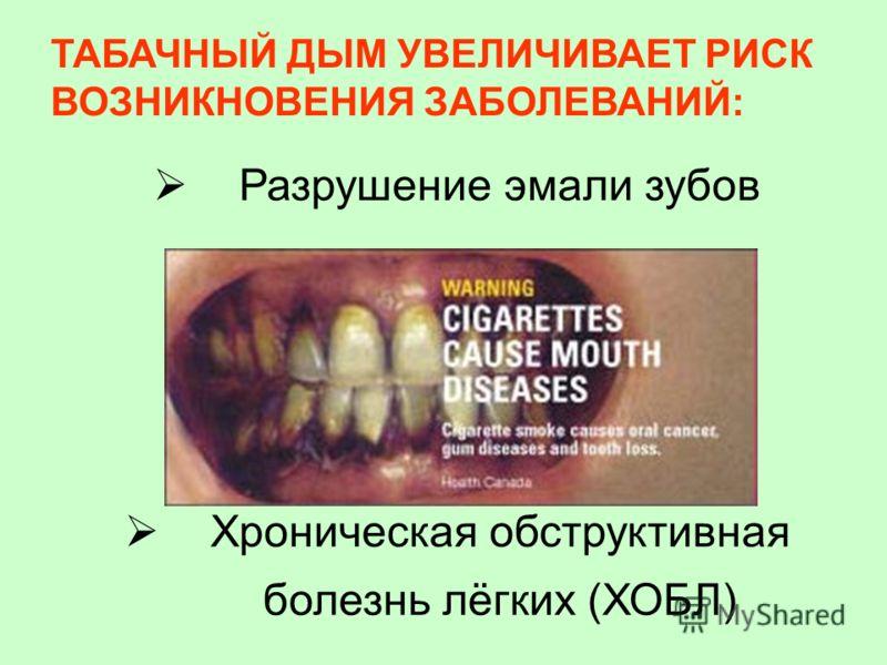 ТАБАЧНЫЙ ДЫМ УВЕЛИЧИВАЕТ РИСК ВОЗНИКНОВЕНИЯ ЗАБОЛЕВАНИЙ: Разрушение эмали зубов Хроническая обструктивная болезнь лёгких (ХОБЛ)