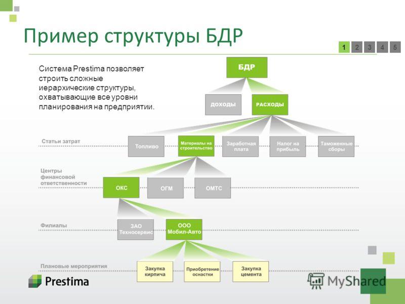 Пример структуры БДР 54321 Система Prestima позволяет строить сложные иерархические структуры, охватывающие все уровни планирования на предприятии.
