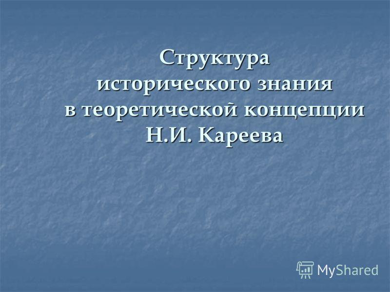 Структура исторического знания в теоретической концепции Н.И. Кареева