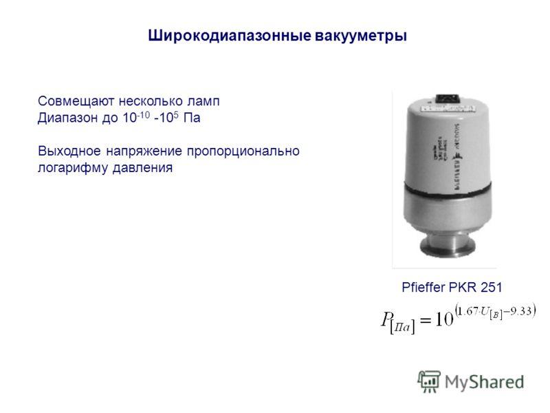 Широкодиапазонные вакууметры Совмещают несколько ламп Диапазон до 10 -10 -10 5 Па Выходное напряжение пропорционально логарифму давления Pfieffer PKR 251