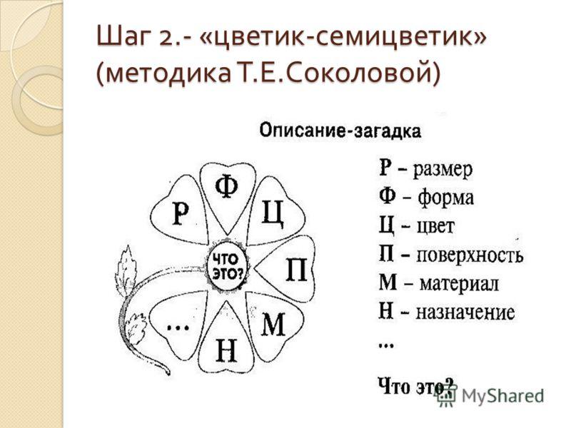 Шаг 2.- « цветик - семицветик » ( методика Т. Е. Соколовой )
