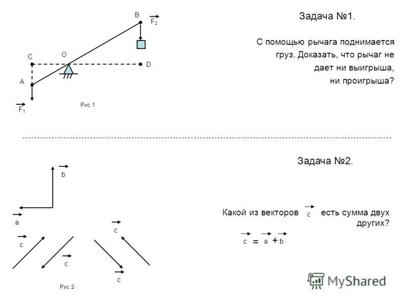 Задача 1. С помощью рычага поднимается груз. Доказать, что рычаг не дает ни выигрыша, ни проигрыша? Задача 2. Какой из векторов есть сумма двух других? В С А О D F1F1 F2F2 cb a c c c c cba = + Рис 1 Рис 2