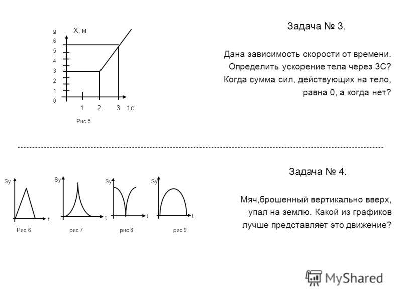 Задача 3. Дана зависимость скорости от времени. Определить ускорение тела через 3С? Когда сумма сил, действующих на тело, равна 0, а когда нет? Задача 4. Мяч,брошенный вертикально вверх, упал на землю. Какой из графиков лучше представляет это движени