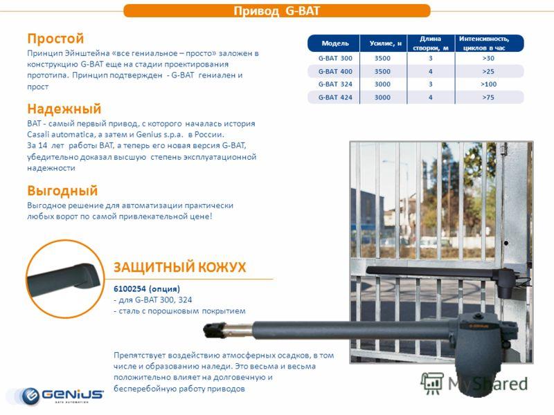 Привод G-BAT МодельУсилие, н G-BAT 30035003500 3500G-BAT 400 Длина створки, м Интенсивность, циклов в час G-BAT 324 G-BAT 424 3000 3 4 3 4 >30 >25 >100 >75 Простой Принцип Эйнштейна «все гениальное – просто» заложен в конструкцию G-BAT еще на стадии