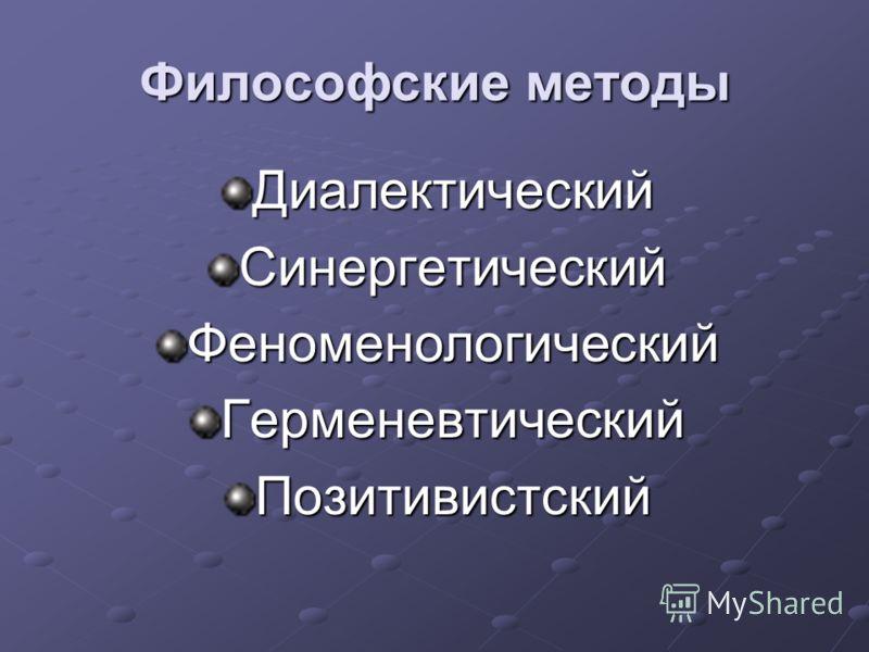 Философские методы ДиалектическийСинергетическийФеноменологическийГерменевтическийПозитивистский