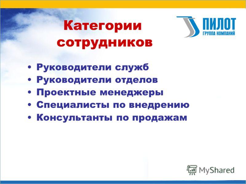 Категории сотрудников Руководители служб Руководители отделов Проектные менеджеры Специалисты по внедрению Консультанты по продажам