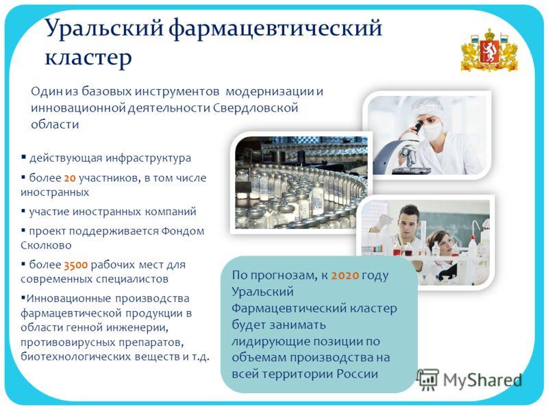 Уральский фармацевтический кластер действующая инфраструктура более 20 участников, в том числе иностранных участие иностранных компаний проект поддерживается Фондом Сколково более 3500 рабочих мест для современных специалистов Инновационные производс