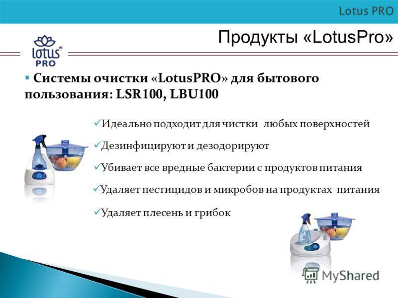 Продукты «LotusPro» Системы очистки «LotusPRO» для бытового пользования: LSR100, LBU100 Идеально подходит для чистки любых поверхностей Дезинфицируют и дезодорируют Убивает все вредные бактерии с продуктов питания Удаляет плесень и грибок Удаляет пес