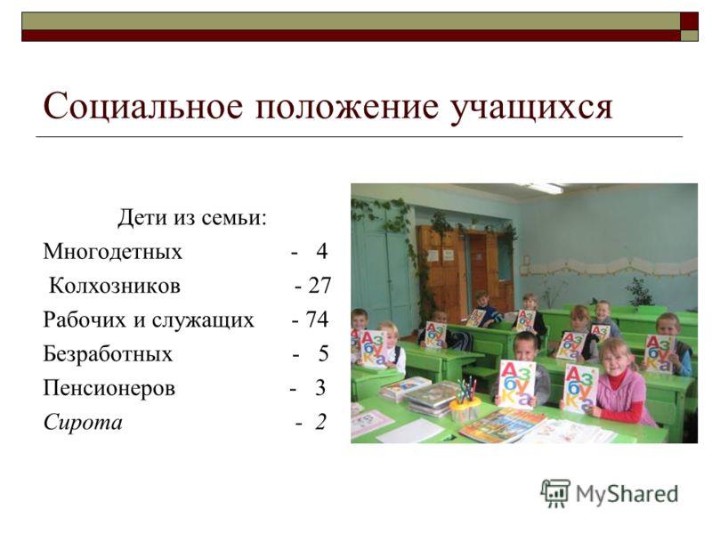 Социальное положение учащихся Дети из семьи: Многодетных - 4 Колхозников - 27 Рабочих и служащих - 74 Безработных - 5 Пенсионеров - 3 Сирота - 2