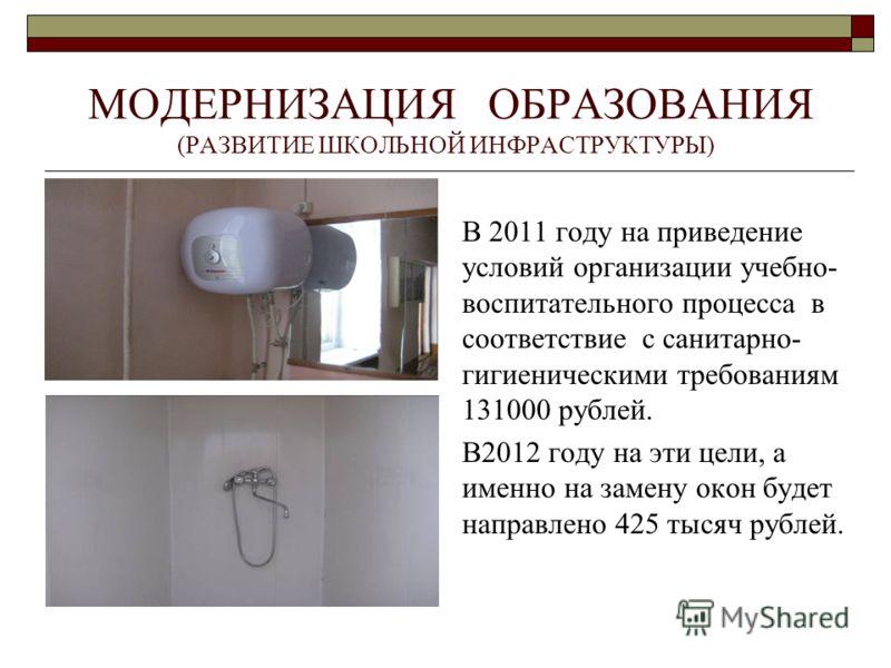МОДЕРНИЗАЦИЯ ОБРАЗОВАНИЯ (РАЗВИТИЕ ШКОЛЬНОЙ ИНФРАСТРУКТУРЫ) В 2011 году на приведение условий организации учебно- воспитательного процесса в соответствие с санитарно- гигиеническими требованиям 131000 рублей. В2012 году на эти цели, а именно на замен