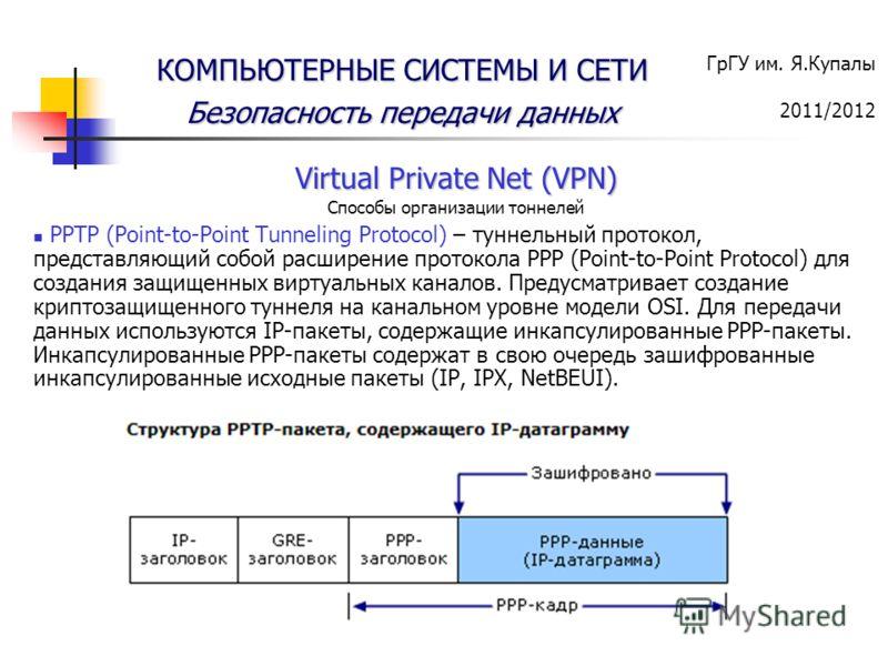 ГрГУ им. Я.Купалы 2011/2012 КОМПЬЮТЕРНЫЕ СИСТЕМЫ И СЕТИ Безопасность передачи данных Virtual Private Net (VPN) Способы организации тоннелей PPTP (Point-to-Point Tunneling Protocol) – туннельный протокол, представляющий собой расширение протокола PPP