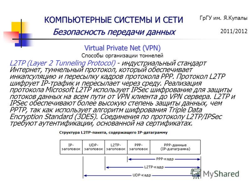 ГрГУ им. Я.Купалы 2011/2012 КОМПЬЮТЕРНЫЕ СИСТЕМЫ И СЕТИ Безопасность передачи данных Virtual Private Net (VPN) Способы организации тоннелей L2TP (Layer 2 Tunneling Protocol) - индустриальный стандарт Интернет, туннельный протокол, который обеспечивае