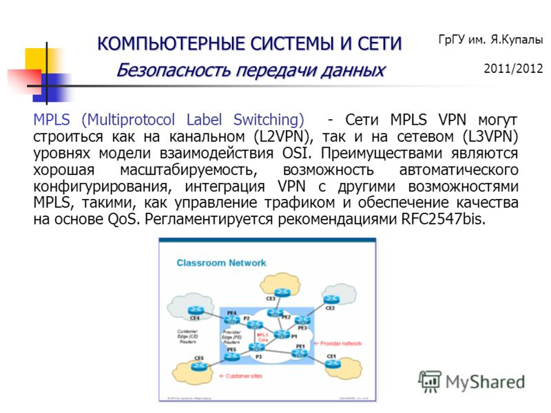 ГрГУ им. Я.Купалы 2011/2012 КОМПЬЮТЕРНЫЕ СИСТЕМЫ И СЕТИ Безопасность передачи данных MPLS (Multiprotocol Label Switching) - Сети MPLS VPN могут строиться как на канальном (L2VPN), так и на сетевом (L3VPN) уровнях модели взаимодействия OSI. Преимущест