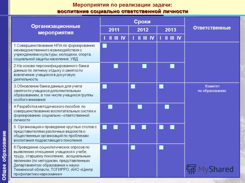 94 Организационные мероприятия Сроки Ответственные 201120122013 I II III IV 1.Совершенствование НПА по формированию межведомственного взаимодействия с учреждениями культуры, молодежи, спорта, социальной защиты населения, УВД 2.На основе персонифициро