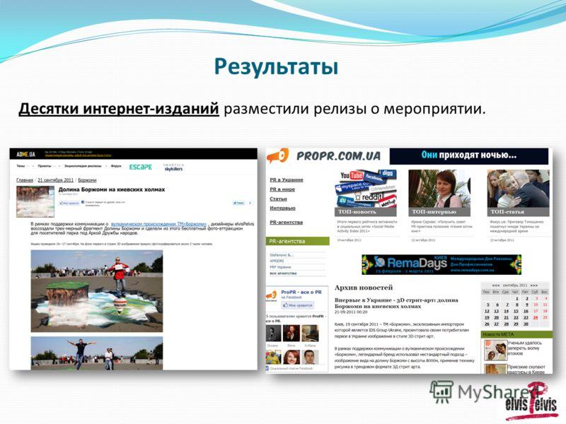 Результаты Десятки интернет-изданий разместили релизы о мероприятии.
