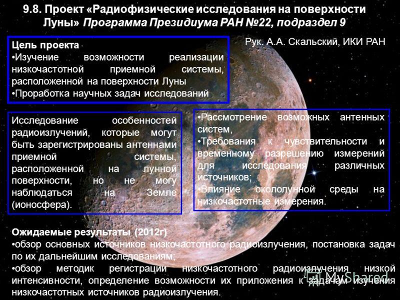 9.8. Проект «Радиофизические исследования на поверхности Луны» Программа Президиума РАН 22, подраздел 9 Цель проекта Изучение возможности реализации низкочастотной приемной системы, расположенной на поверхности Луны Проработка научных задач исследова