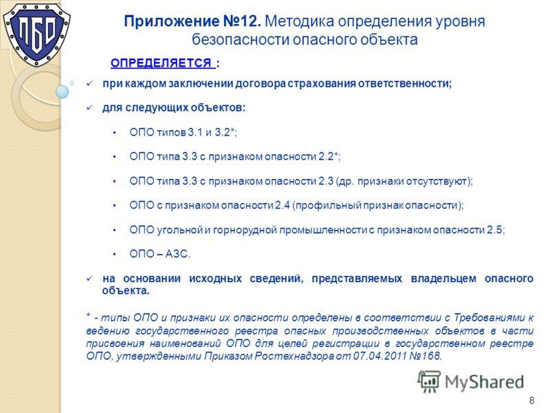Приложение 12. Методика определения уровня безопасности опасного объекта ОПРЕДЕЛЯЕТСЯ : при каждом заключении договора страхования ответственности; для следующих объектов: ОПО типов 3.1 и 3.2*; ОПО типа 3.3 с признаком опасности 2.2*; ОПО типа 3.3 с