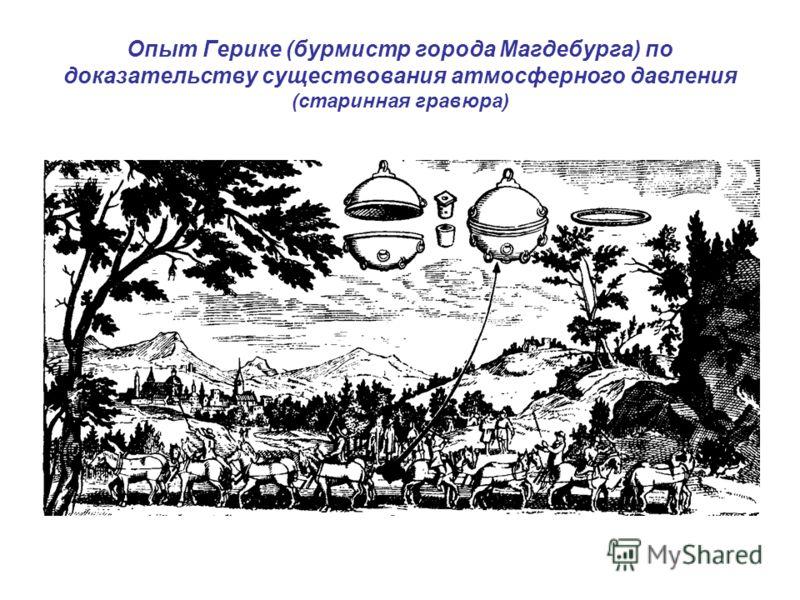 Опыт Герике (бурмистр города Магдебурга) по доказательству существования атмосферного давления (старинная гравюра)