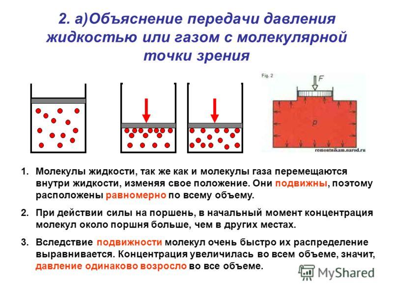 2. а)Объяснение передачи давления жидкостью или газом с молекулярной точки зрения 1.Молекулы жидкости, так же как и молекулы газа перемещаются внутри жидкости, изменяя свое положение. Они подвижны, поэтому расположены равномерно по всему объему. 2.Пр