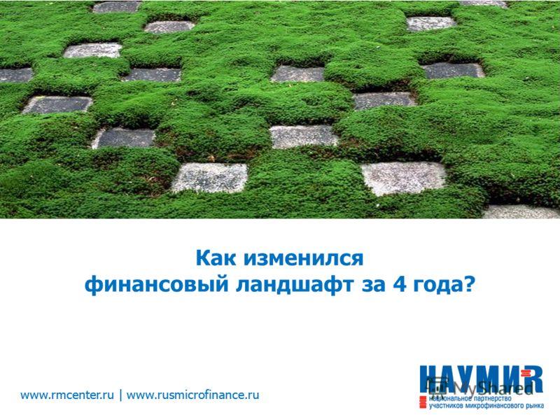 www.rmcenter.ru | www.rusmicrofinance.ru Как изменился финансовый ландшафт за 4 года?