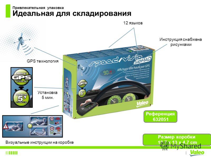 I Привлекательная упаковка Идеальная для складирования Визуальные инструкции на коробке Инструкция снабжена рисунками Установка 5 мин. 12 языков Размер коробки 18.7 x 13 x 4.7 cm Референция 632051 GPS технология