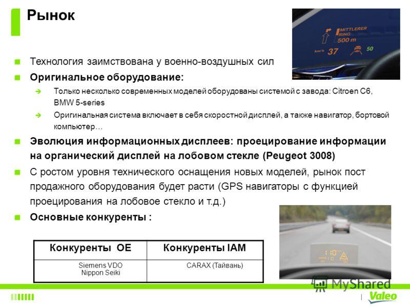 I Рынок Технология заимствована у военно-воздушных сил Оригинальное оборудование: Только несколько современных моделей оборудованы системой с завода: Citroen C6, BMW 5-series Оригинальная система включает в себя скоростной дисплей, а также навигатор,