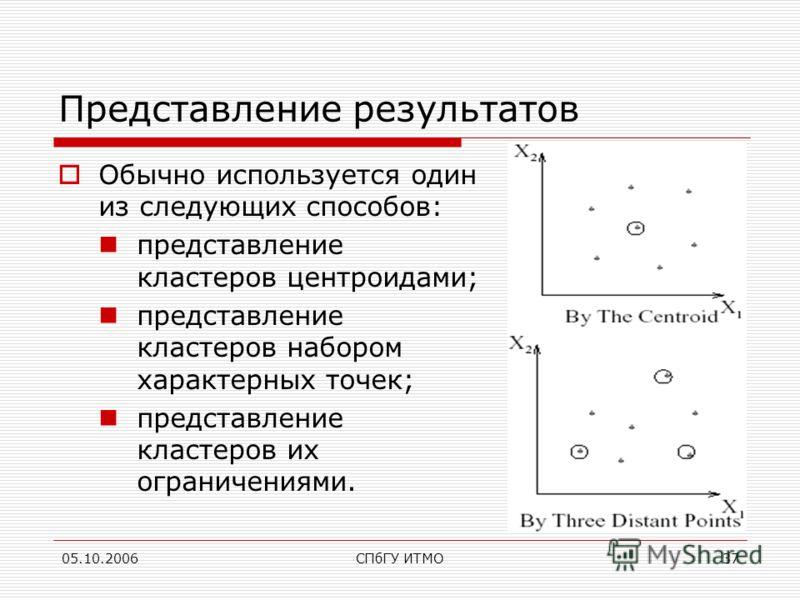 05.10.2006СПбГУ ИТМО37 Представление результатов Обычно используется один из следующих способов: представление кластеров центроидами; представление кластеров набором характерных точек; представление кластеров их ограничениями.