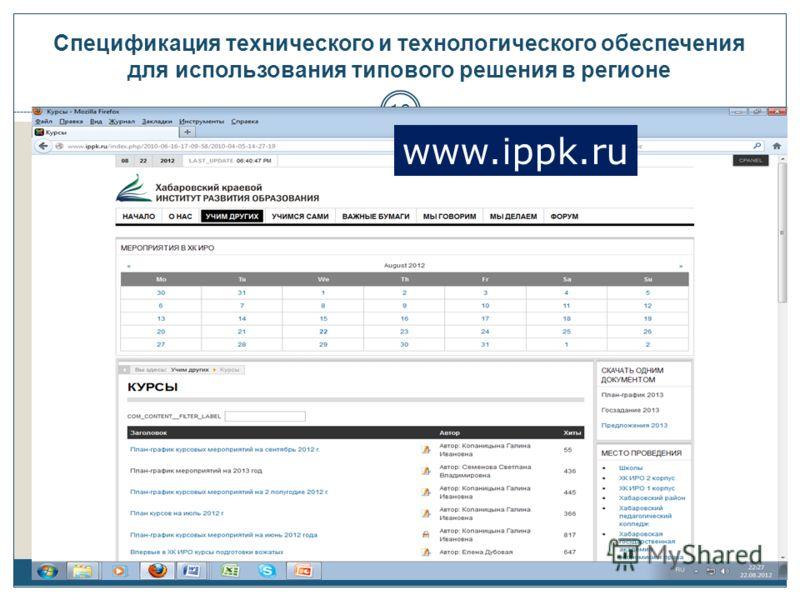Спецификация технического и технологического обеспечения для использования типового решения в регионе 10 www.ippk.ru
