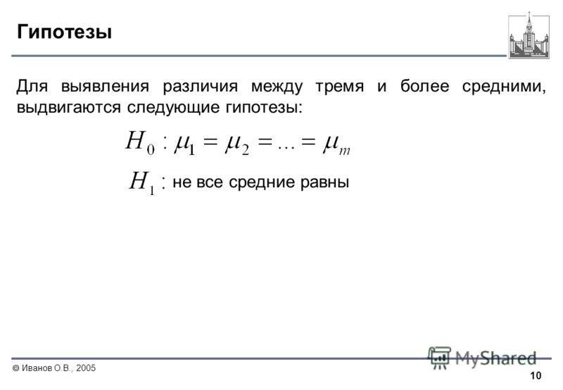 10 Иванов О.В., 2005 Гипотезы Для выявления различия между тремя и более средними, выдвигаются следующие гипотезы: не все средние равны