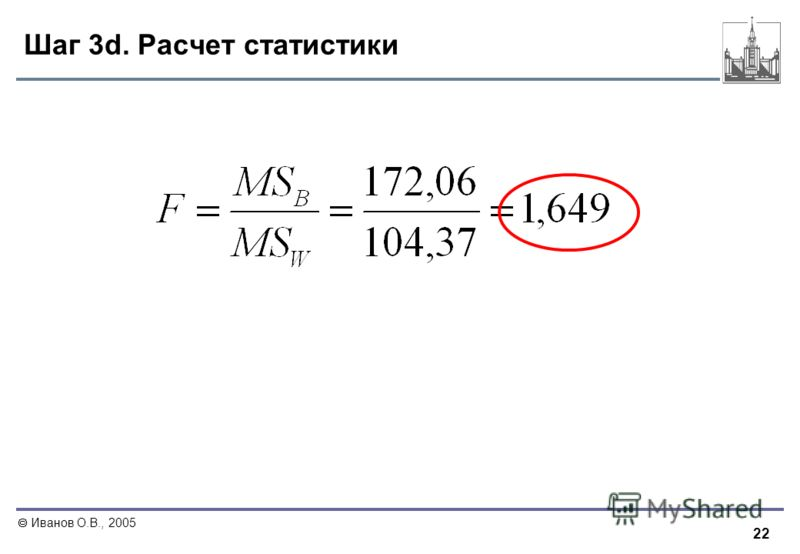 22 Иванов О.В., 2005 Шаг 3d. Расчет статистики